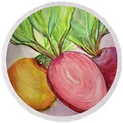 Bold Beets Round Beach Towel by Kim Nelson