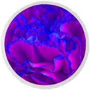 Bold Fuschia Pink And Blue Carnation Flower Round Beach Towel