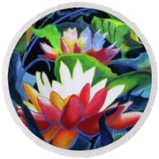 Round Beach Towel featuring the painting Bold Lilypads by Kathy Braud