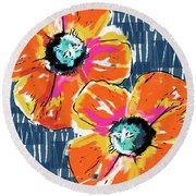 Bold Orange Poppies- Art By Linda Woods Round Beach Towel