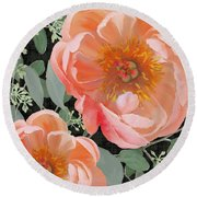 Bold Peony Seeded Eucalyptus Leaves Round Beach Towel by Audrey Jeanne Roberts