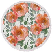 Bold Peony Seeded Eucalyptus Leaves Repeat Pattern Round Beach Towel