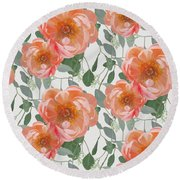 Round Beach Towel featuring the painting Bold Peony Seeded Eucalyptus Leaves Repeat Pattern by Audrey Jeanne Roberts