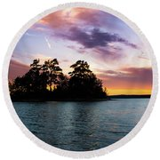 Round Beach Towel featuring the photograph Bold Sunset Over Lake Martin by Parker Cunningham