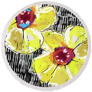 Round Beach Towel featuring the mixed media Bold Yellow Poppies- Art By Linda Woods by Linda Woods