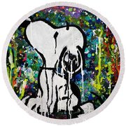 Bold.snoopy Round Beach Towel