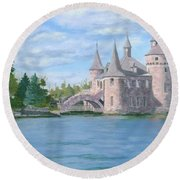 Round Beach Towel featuring the painting Boldt's Power House by Lynne Reichhart