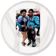 Bolivian Couple Dancers Round Beach Towel