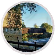 Round Beach Towel featuring the photograph Bollinger Mill And Bridge by Cricket Hackmann