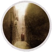 Round Beach Towel featuring the photograph Bologna, Italy - Medieval Light by Mark Forte