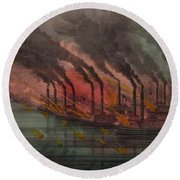Bombardment And Capture Of Fort Henry, Tennessee Round Beach Towel