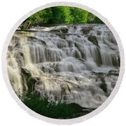 Round Beach Towel featuring the photograph Bond Falls - Haight - Michigan 001 by George Bostian