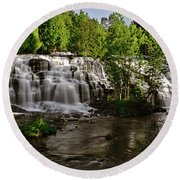 Round Beach Towel featuring the photograph Bond Falls - Haight - Michigan 003 by George Bostian