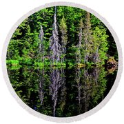 Bond Falls - Michigan 001 - Reflection Round Beach Towel