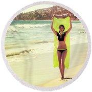 Bond Girl Laguna Beach Round Beach Towel