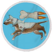 Round Beach Towel featuring the painting Bone Commander - Apparel  by Jindra Noewi