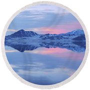 Round Beach Towel featuring the photograph Bonneville Lake by Chad Dutson