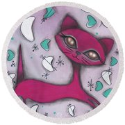 Bonnie Cat Round Beach Towel by Abril Andrade Griffith