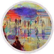 Bonspiel, Lake Of Menteith  Round Beach Towel