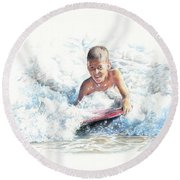 Boogie Boarding Round Beach Towel