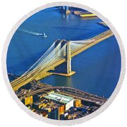 Booklyn And Manhattan Bridges Round Beach Towel