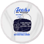 Round Beach Towel featuring the painting Books Are Weapons - Wpa by War Is Hell Store
