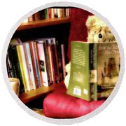 Bookworm Ted Round Beach Towel