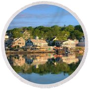 Booth Bay Reflections Round Beach Towel