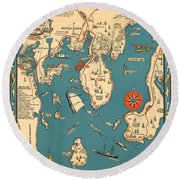 Boothbay Harbor And Vicinity - Vintage Illustrated Map - Pictorial - Cartography Round Beach Towel