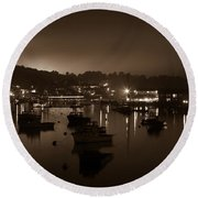 Boothbay Harbor At Night Round Beach Towel