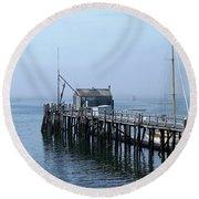Boothbay Shipyard Dock Round Beach Towel
