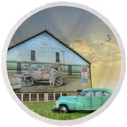 Bootlegging Chevy Round Beach Towel