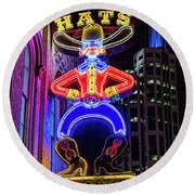 Boots And Hat Neon Sign Round Beach Towel