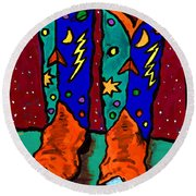 Boots On Rust Round Beach Towel