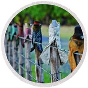 Round Beach Towel featuring the photograph Boots On The Fence by Linda Unger