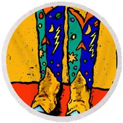 Boots On Yellow 24x30 Round Beach Towel