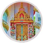 Bophut Temple In Thailand Round Beach Towel