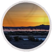 Round Beach Towel featuring the photograph Borax Lake At Sunrise by Cat Connor