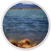 Round Beach Towel featuring the photograph Borax Lake by Cat Connor