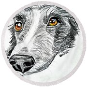 Border Collie Dog Colored Pencil Round Beach Towel