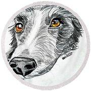 Border Collie Dog Colored Pencil Round Beach Towel by Scott D Van Osdol