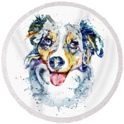 Round Beach Towel featuring the mixed media Border Collie  by Marian Voicu