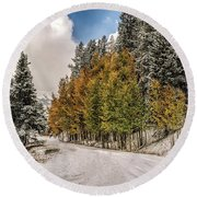 Boreas Pass Road Aspen And Snow Round Beach Towel