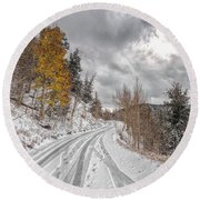 Boreas Pass Tracks Round Beach Towel