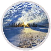 Round Beach Towel featuring the photograph Born As We Are by Phil Koch