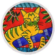 Born To Be Striped Round Beach Towel