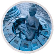 Borobudur Temple Round Beach Towel by Luciano Mortula