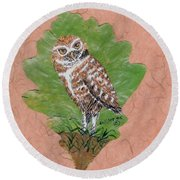 Borrowing Owl Round Beach Towel by Ralph Root