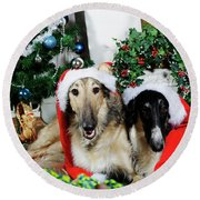 Borzoi Puppies Wishing A Merry Christmas Round Beach Towel