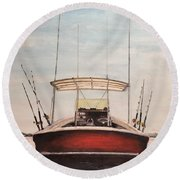 Round Beach Towel featuring the painting Helen's Boat by Stan Tenney